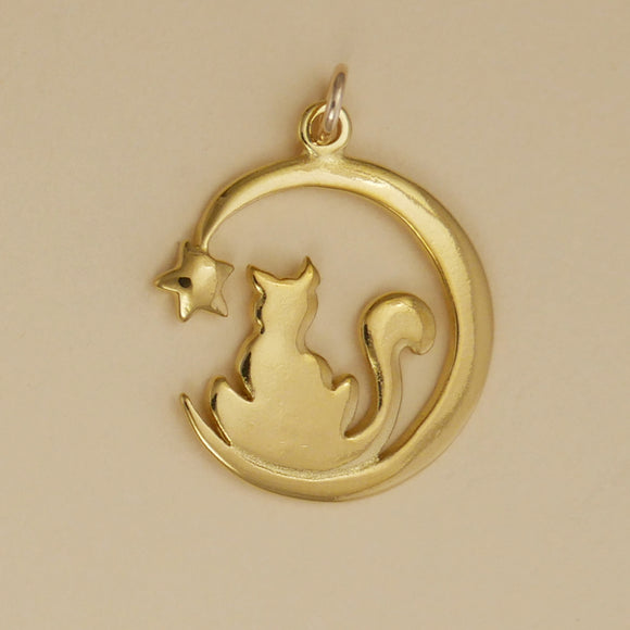 Cat And Moon Charm - Charmworks