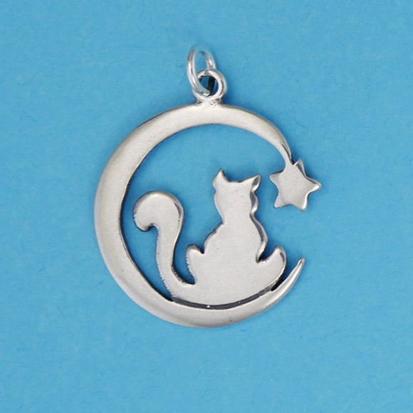Cat And Moon Charm/Pendant - Charmworks