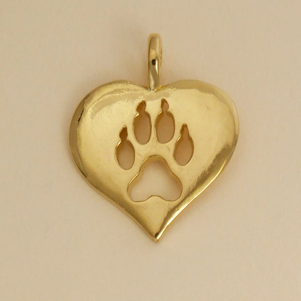 Gold Vermeil Wolf Paw Print Heart Pendant - Charmworks