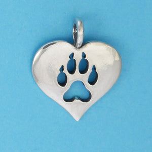 Sterling Silver Wolf Paw Print Heart Pendant - Charmworks