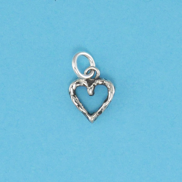 Sterling Silver Textured Heart Charm - Charmworks