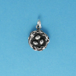 US made sterling silver bird nest with eggs charm.
