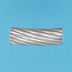 US made sterling silver rigatoni pasta bead.