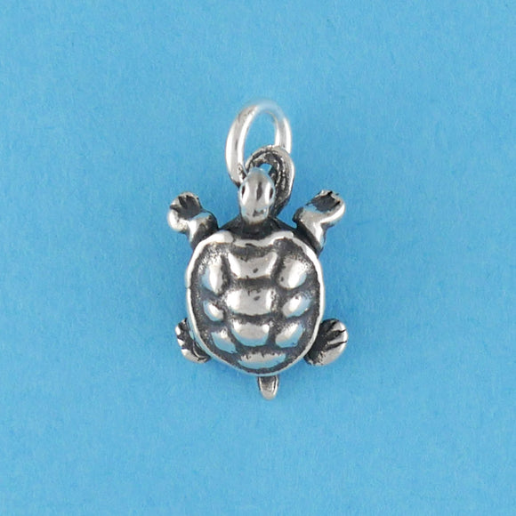 US made sterling silver turtle charm.