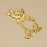 Hand hammered, US made gold vermeil pelican pendant.