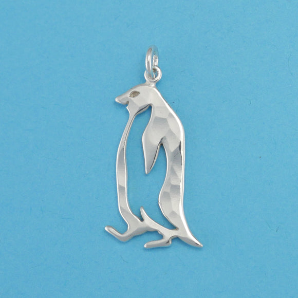 Hand hammered, US made sterling silver penguin charm.