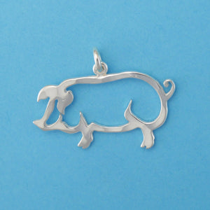 Hand hammered, US made sterling silver pig charm.