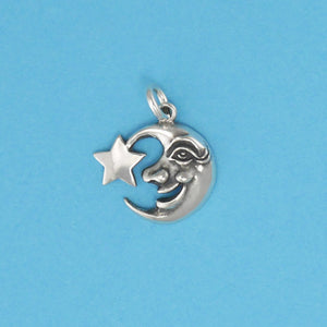 Moon Face With Star Charm - Charmworks