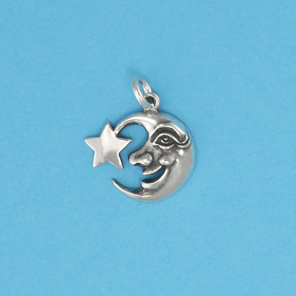 Sterling Silver Moon Face With Star Charm - Charmworks