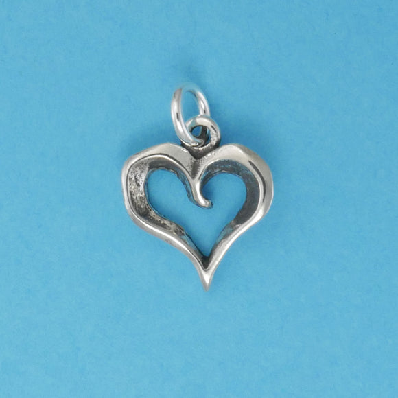 Sterling Silver Open Heart Charm - Charmworks