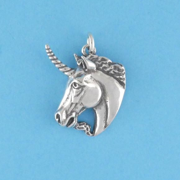 Sterling Silver Unicorn Head Charm - Charmworks