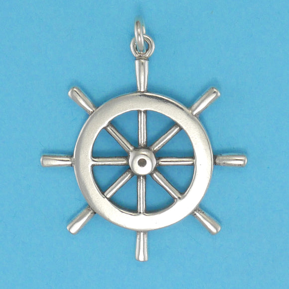 Sterling Silver Ships Wheel Pendant - Charmworks