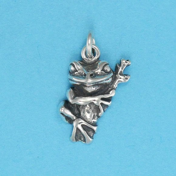 US made sterling silver tree frog charm.