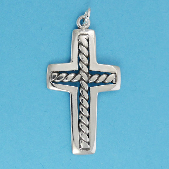 Twisted Wire Cross Charm