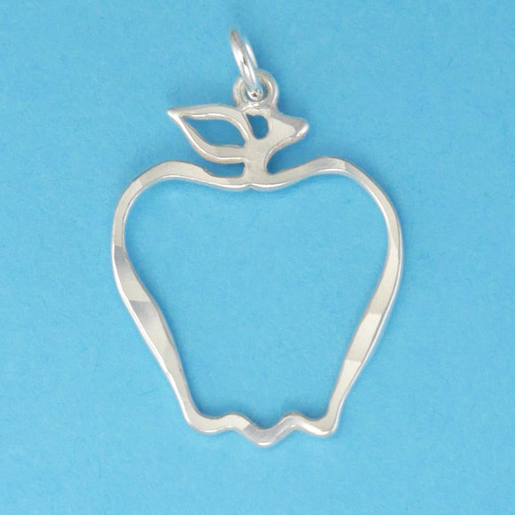 Hand hammered, US made sterling silver cutout apple charm.