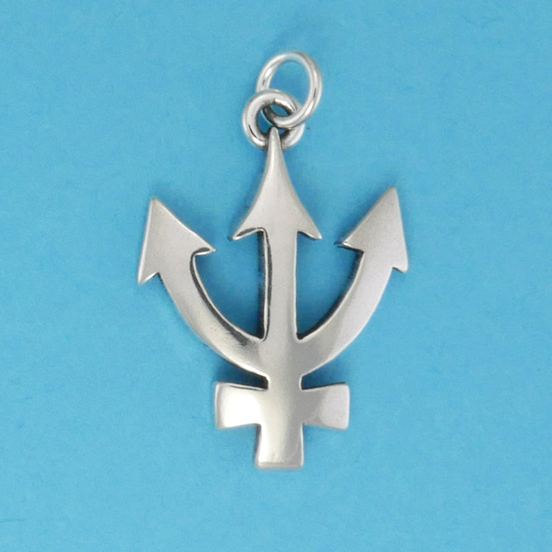 Sterling Silver Neptune Symbol Charm - Charmworks