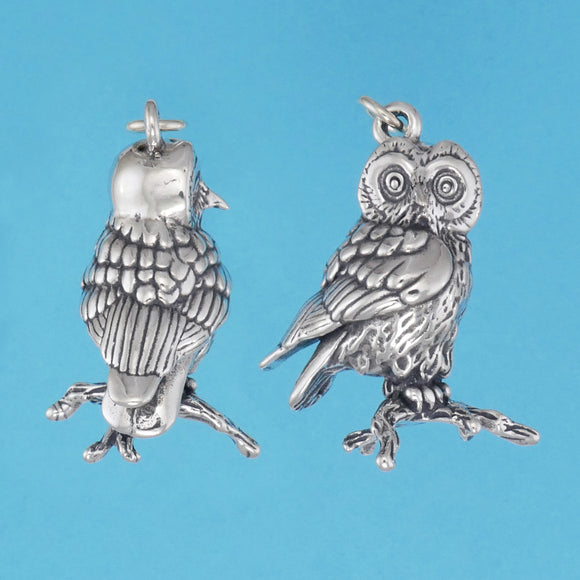 Sterling Silver Saw Whet Owl Pendant - Charmworks