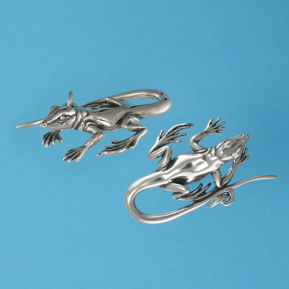 Sterling Silver Whiptail Lizard Pendant - Charmworks