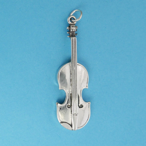 Sterling Silver Violin Pendant - Charmworks