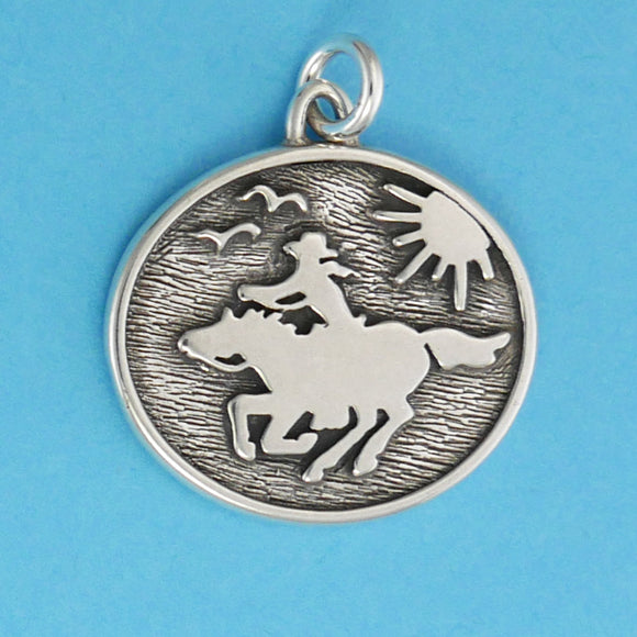 US made sterling silver pony express charm.