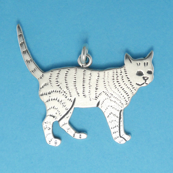 US made sterling silver tabby cat pendant.