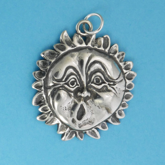 Sterling Silver Sun Face Pendant - Charmworks