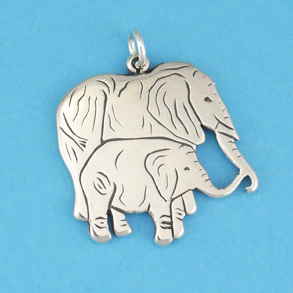 Elephant Mama And Baby Pendant - Charmworks