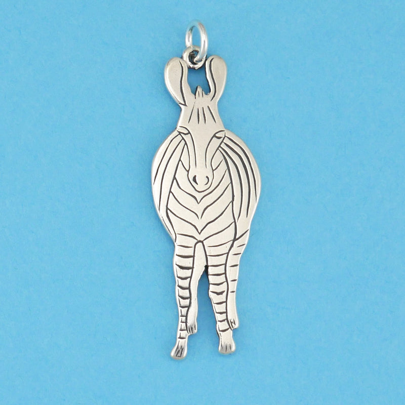 Sterling Silver Zebra Front Pendant - Charmworks