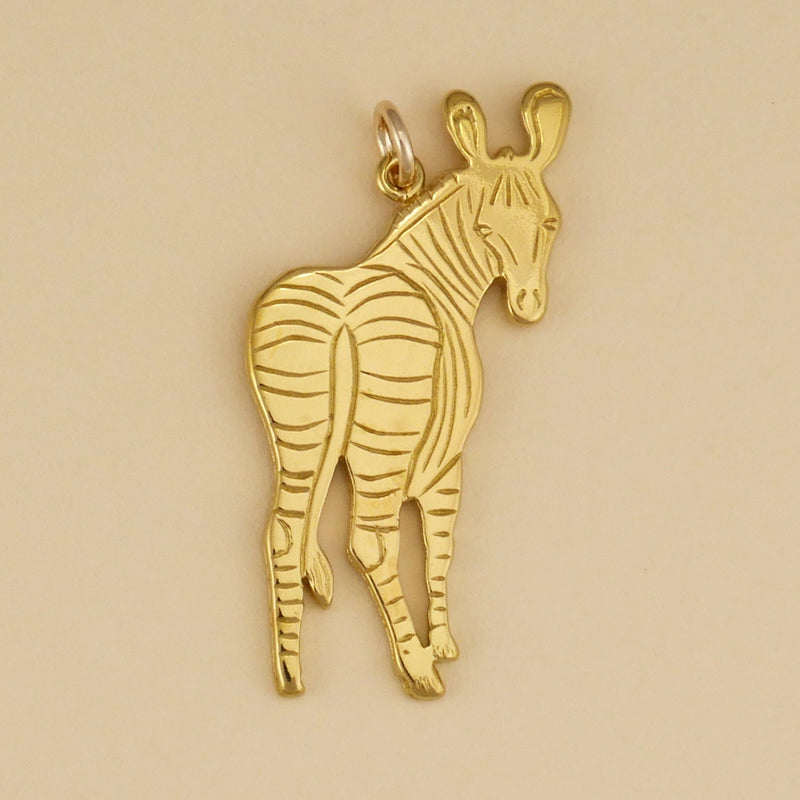 Gold Vermeil Zebra Looking Back Pendant - Charmworks