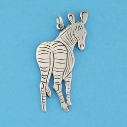 Sterling Silver Zebra Looking Back Pendant - Charmworks