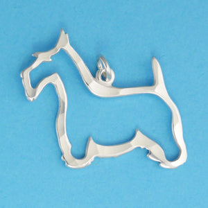 Hand hammered, US made sterling silver scottish terrier dog charm.
