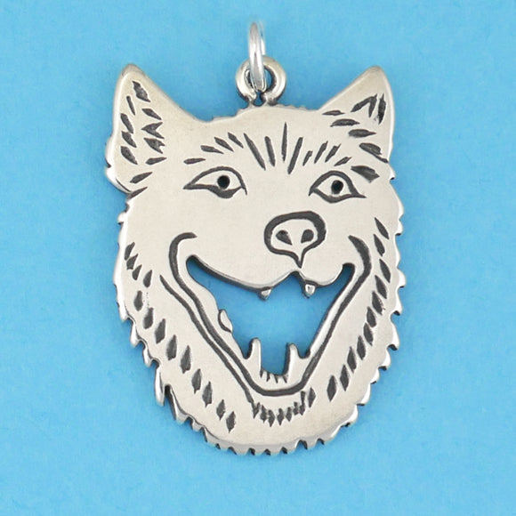 Laughing Wolf Head Pendant - Charmworks