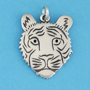US made sterling silver tiger face charm.