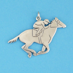 US made sterling silver race horse around the first turn charm.
