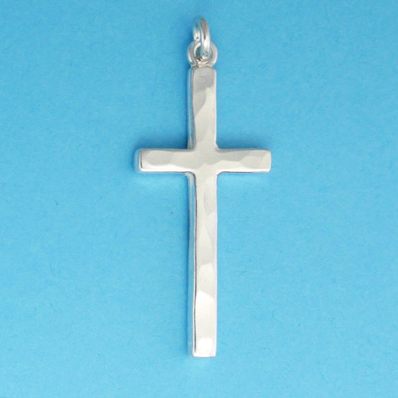 Hand Hammered Thin Cross Charm - Charmworks