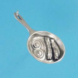 US made sterling silver skillet with eggs and bacon charm.