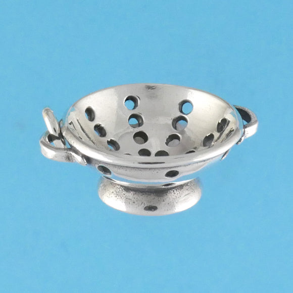 US made sterling silver colander charm.