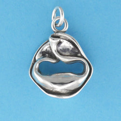 US made sterling silver tortellini pasta charm.