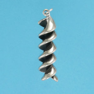 US made sterling silver rotini pasta charm.