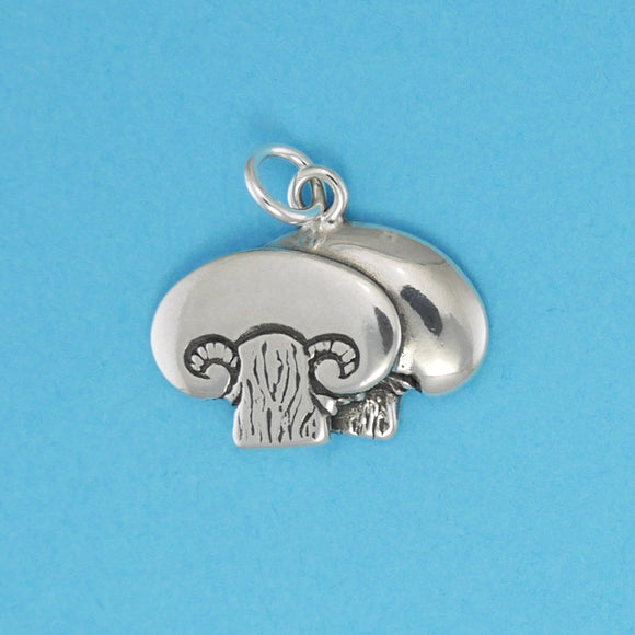 US made sterling silver mushroom charm.