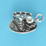 US made sterling silver pie ala mode charm.