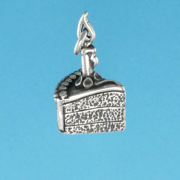 US made sterling silver birthday cake charm.