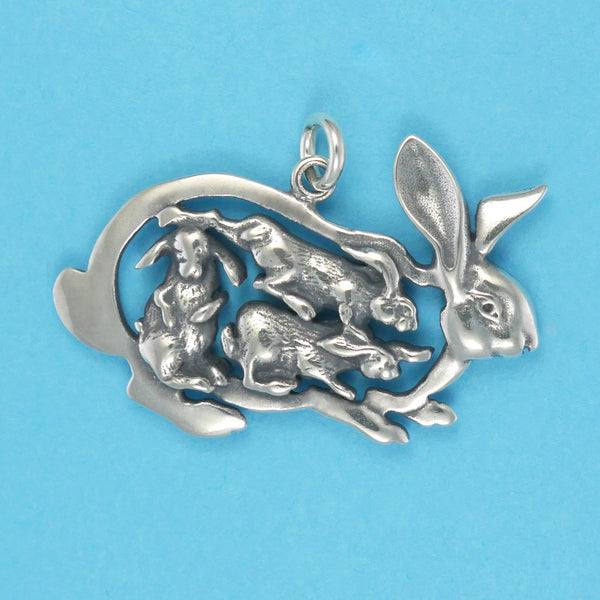 Bunny Rabbit With Babies Charm - Charmworks