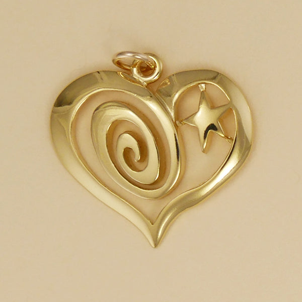 Swirl And Star Heart Pendant - Charmworks