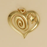 Gold Vermeil Swirl And Star Heart Pendant - Charmworks