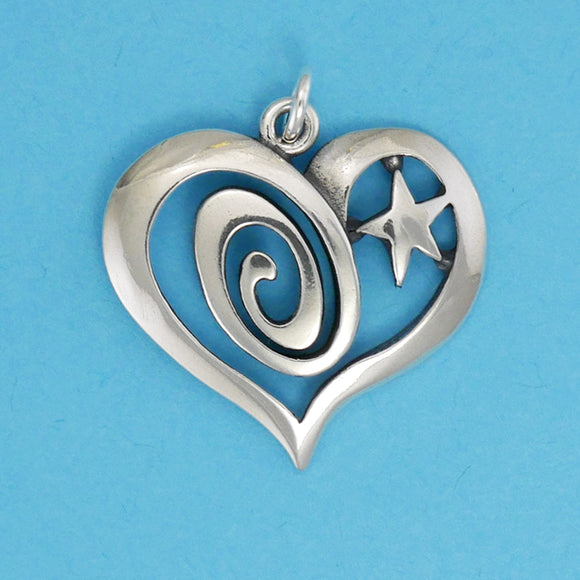 Sterling Silver Swirl and Star Heart Pendant - Charmworks