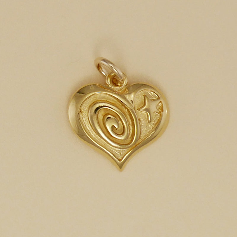 Gold Vermeil Swirl And Star Heart Charm - Charmworks