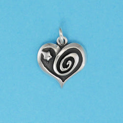 Sterling Silver Swirl And Star Heart Charm - Charmworks