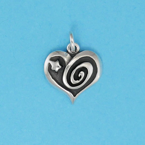 Swirl And Star Heart Charm - Charmworks