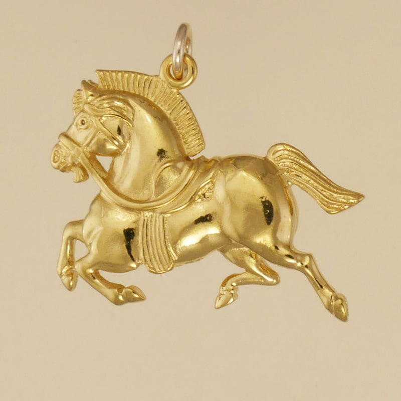 US made gold vermeil Persian war horse pendant.